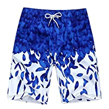 Aidle Couples Quick Dry Swim Trunk feather Printed Beach Swim Wear