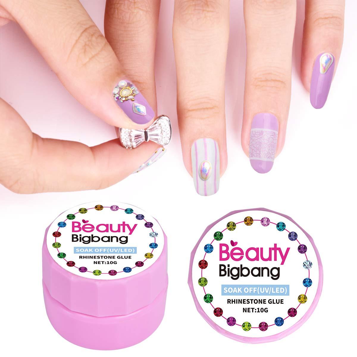 Beautybigang UV-Gel-Nagelkunst mit Strasssteinen, Klebstoff, Metall, Schmuck, Zubehör, sehr klebend, Nagelgel, Nagelgel, Nageldekoration, Werkzeug Zubehör BEAUTYBIGBANG