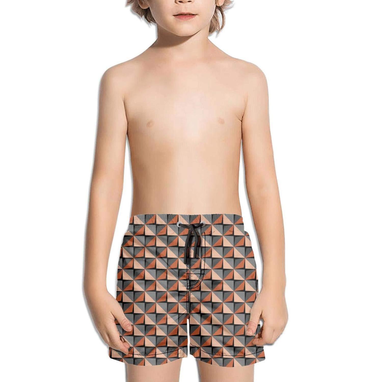 Abstract 3D Black and Brown Geometric Fashion Swim Trunks BingGuiC Boys Quick Dry Shorts