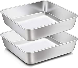 8 x 8-Inch Baking Pan, E-far Square Cake Brownie Baking Pans Stainless Steel Bakeware Set of 2, Fits in Small Toaster Oven, Non-toxic & Dishwasher Safe
