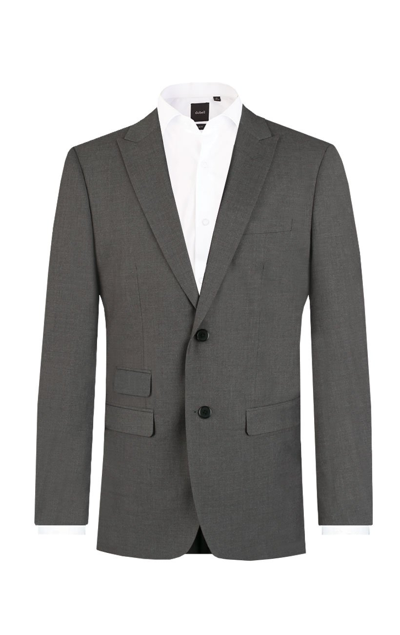 Dobell Mens Light Grey Travel/Performance Tailored Fit Two Button Suit Jacket, 44R