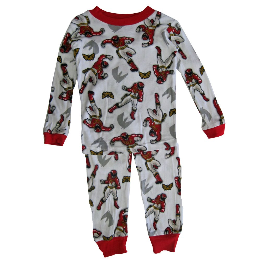 Power Rangers Big Boys White Red Character Print All-Over 2 Pc Pajama Set 8-10 ABC Brands Inc.