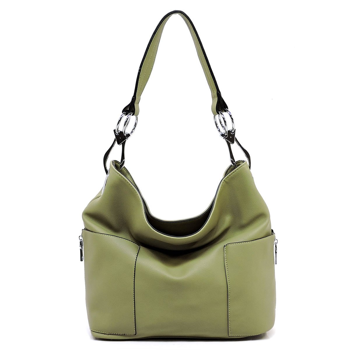 Americana Bucket Style Hobo Shoulder Bag with Big Snap Hook Hardware and Side Zipper Pocket by Americana