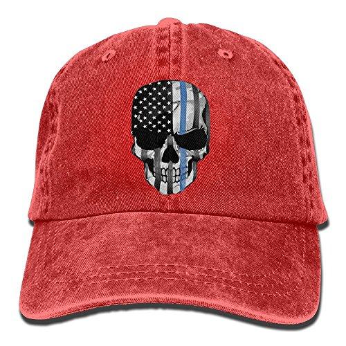 Mater Costume For Adults - Thin Blue Line Skull Unisex Adjustable Cotton Denim Hat Washed Retro Gym Hat FS&DMhcap Cap Hat