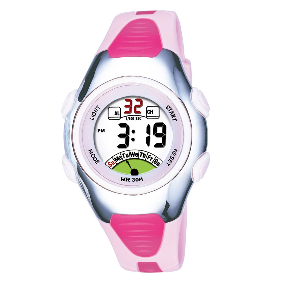 Outdoors Sports Digital Girls Watches Multi Functions Led Water Resistant Kids Wrist Watches Pink
