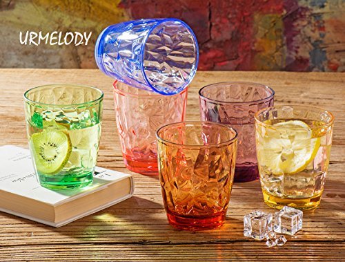 Drinking Glasses Set Acrylic Glassware for Kids 11oz Colored Plastic Tumblers Cups Picnic Water Glasses Unbreakable Juice Drinkware for Camping Restaurant Beach Party BPA Free Dishwasher Safe by Urmelody (Image #5)