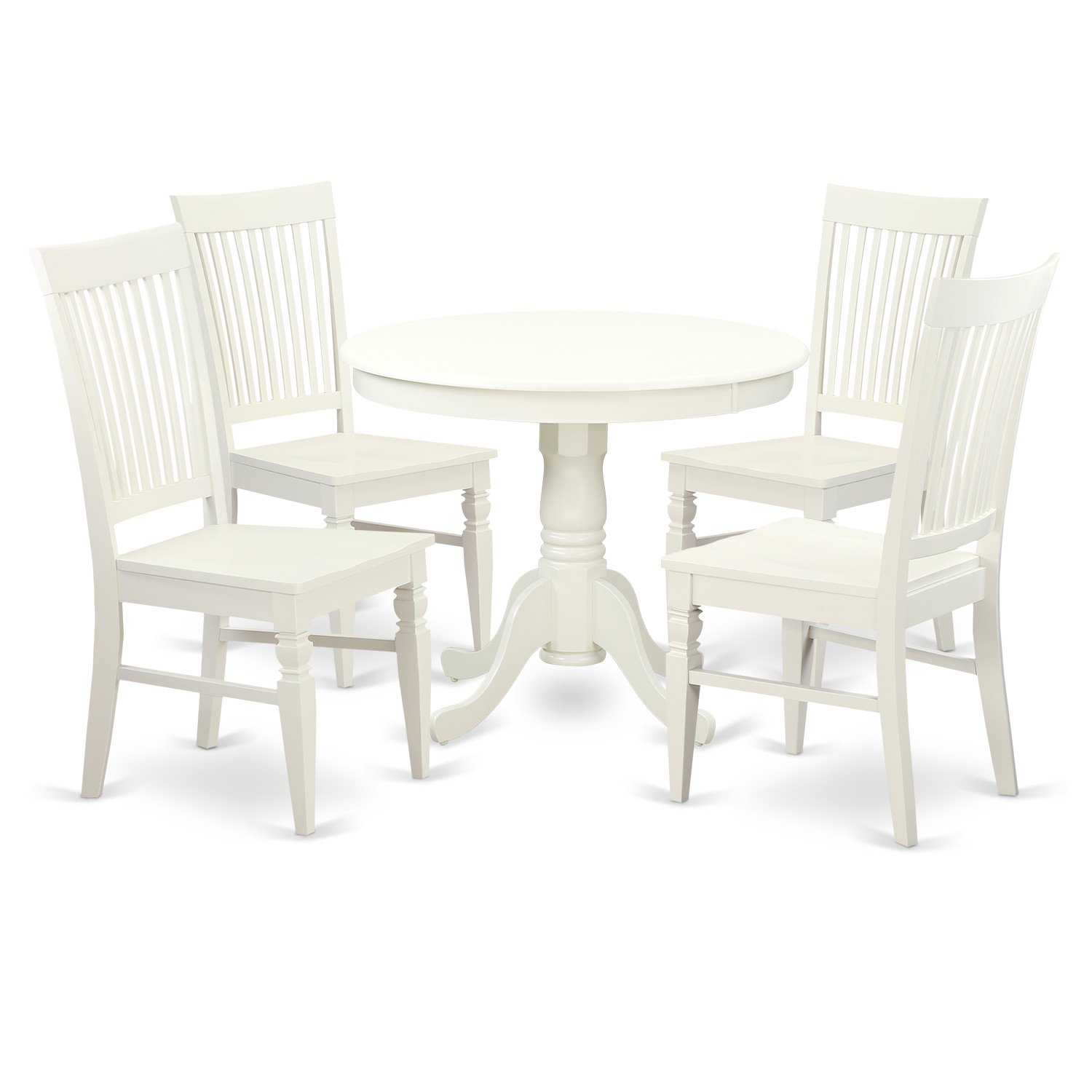 East West Furniture 5 PC Set with One Table & 4 Solid Wood Seat Dinette Chairs in a Distinctive Linen White