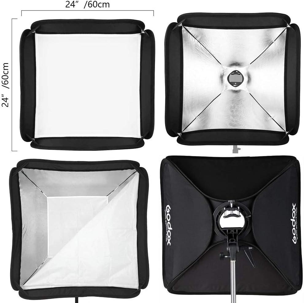 Softbox 60x60CM GODOX Foldable Portable Softbox 60cm x 60cm//24 x 24 for Camera Photography Studio Flash fit Bowens Elinchrom Mount