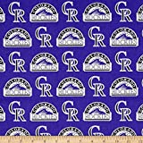 MLB Cotton Broadcloth Colorado Rockies Purple/Black Fabric By The Yard