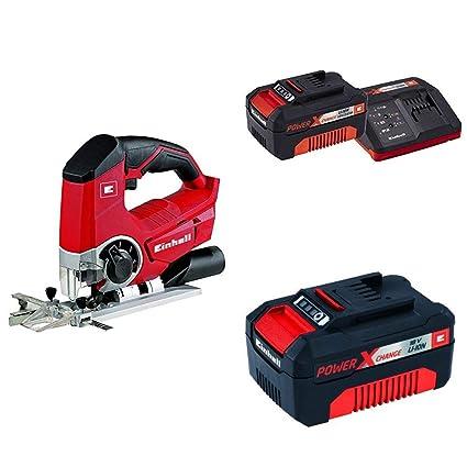 Kit Einhell TE-JS 18 Li Solo - Sierra de calar sin cable, función de soplado, sin batería/cargador, 2400 percusiones/min, luz LED, color rojo y negro ...