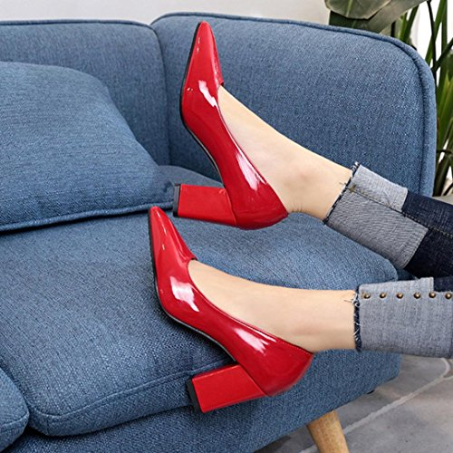 erthome Summer Women Fashion Square Heel Shoes Pointed Toe Shallow High-Heeled Shoes Red 9wF3MXmO