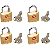"""South Main Hardware 810106 TSA Approved Luggage Lock, 3/4"""" Wide Body, Solid Brass (Pack of 4)"""