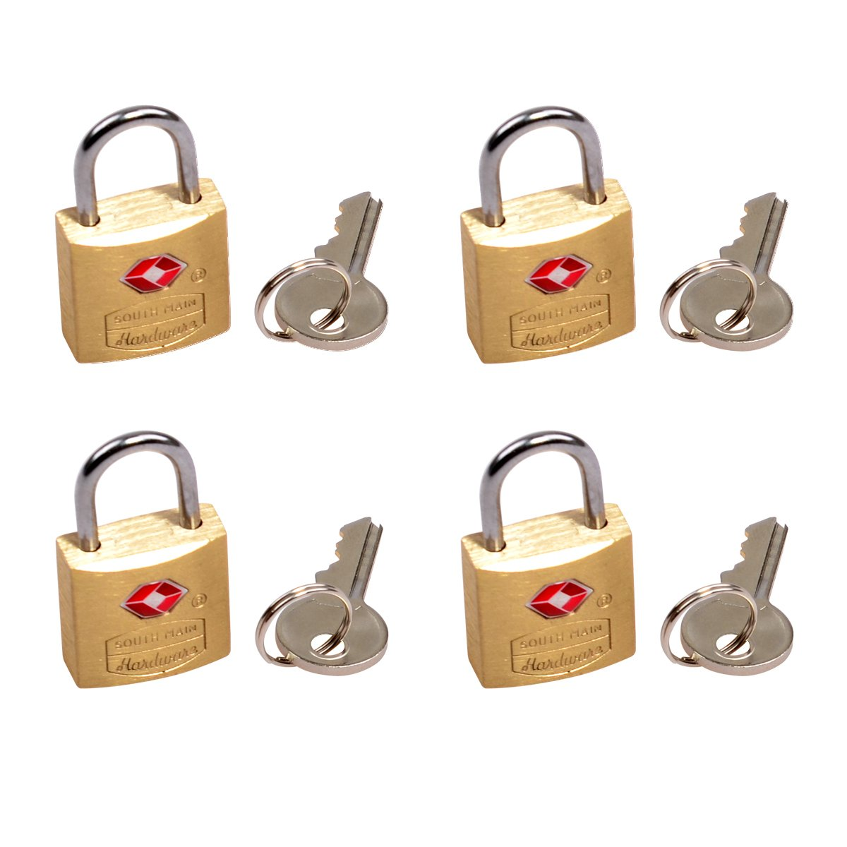 South Main Hardware 810106 TSA Approved Luggage Lock, 3/4'' Wide Body, Solid Brass (Pack of 4)