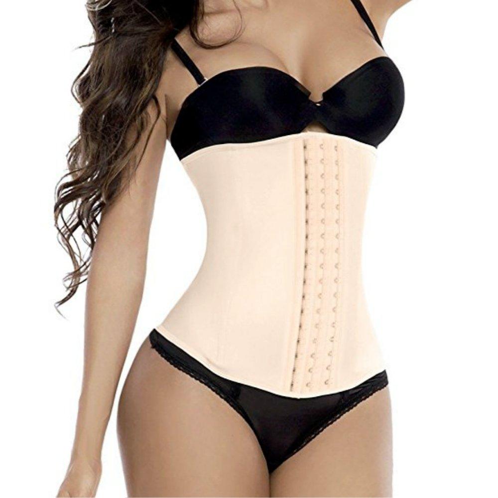 Jxts - Top Underbust Corset Waist Trainer Waist Cincher For Women Hourglass Figure Tummy Control Body Slimmer Sexy Shapewear (Beige, L)