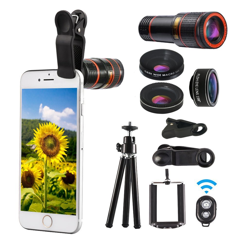 Phone Lens 12x Zoom Telephoto High Definition 4 in 1 Kit iPhone 7 180° Fisheye Wide Angle Macro Lens with Flexible Tripod Clip and Case Attachment for iPhone X, Samsung S8 Remote