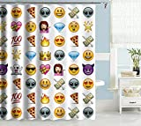Curtains Ideas Uphome Cute Emoji Emoticon Pattern Kids Bathroom Shower Curtain - White Background Polyester Fabric Kids Decorative Curtain Ideas (72