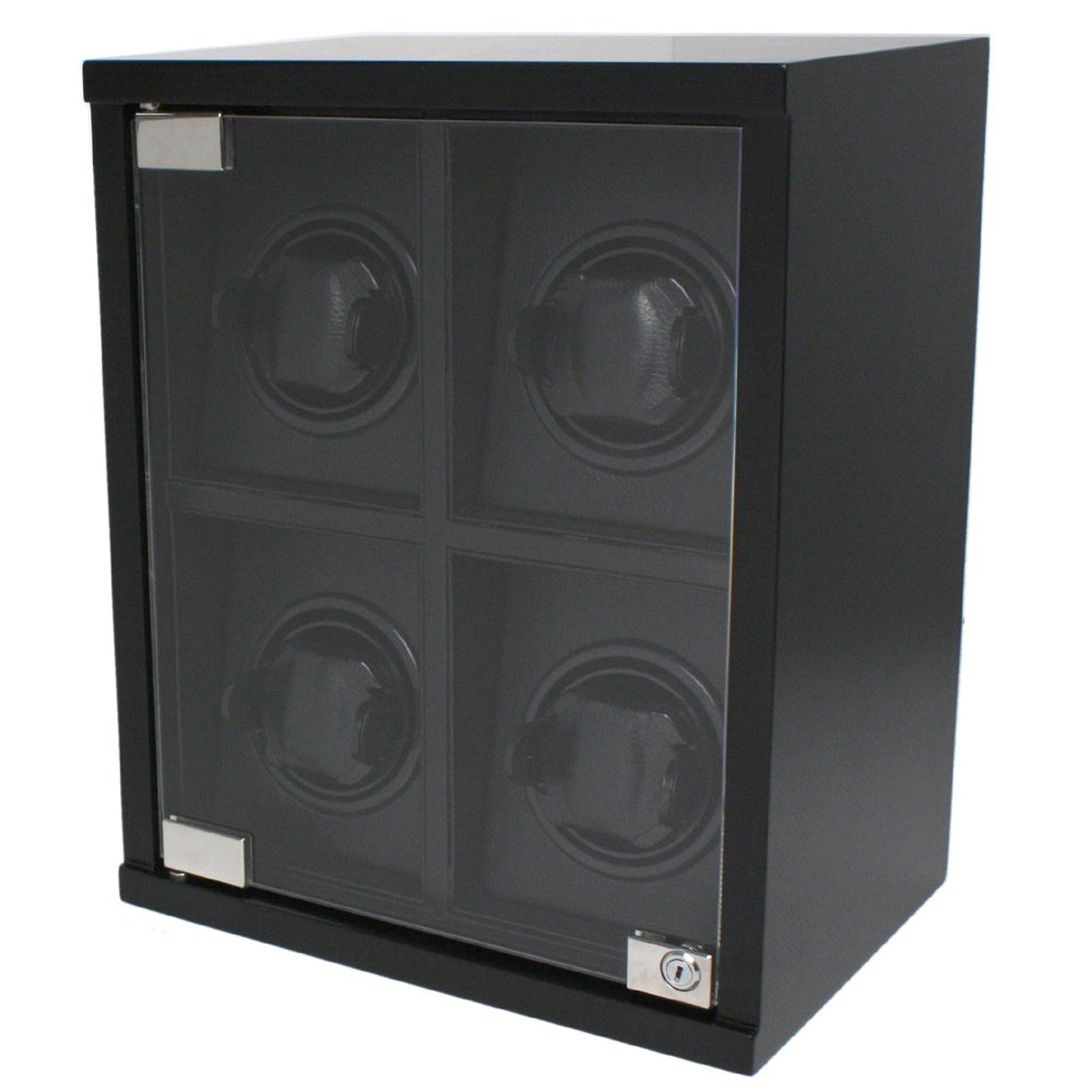 Tech Swiss Watch Winder Quad Wood Black Carbon Fiber Design for Large Automatic Watches by Tech Swiss