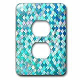 3dRose Uta Naumann Faux Glitter Pattern - Luxury Fresh Green and Blue Moroccan Arabic Quatrefoil Tile Pattern - Light Switch Covers - 2 plug outlet cover (lsp_268957_6)