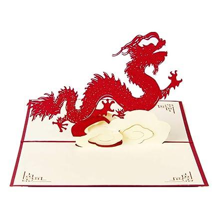 Fliyeong - Tarjetas de felicitación 3D, diseño de dragón Chino ...