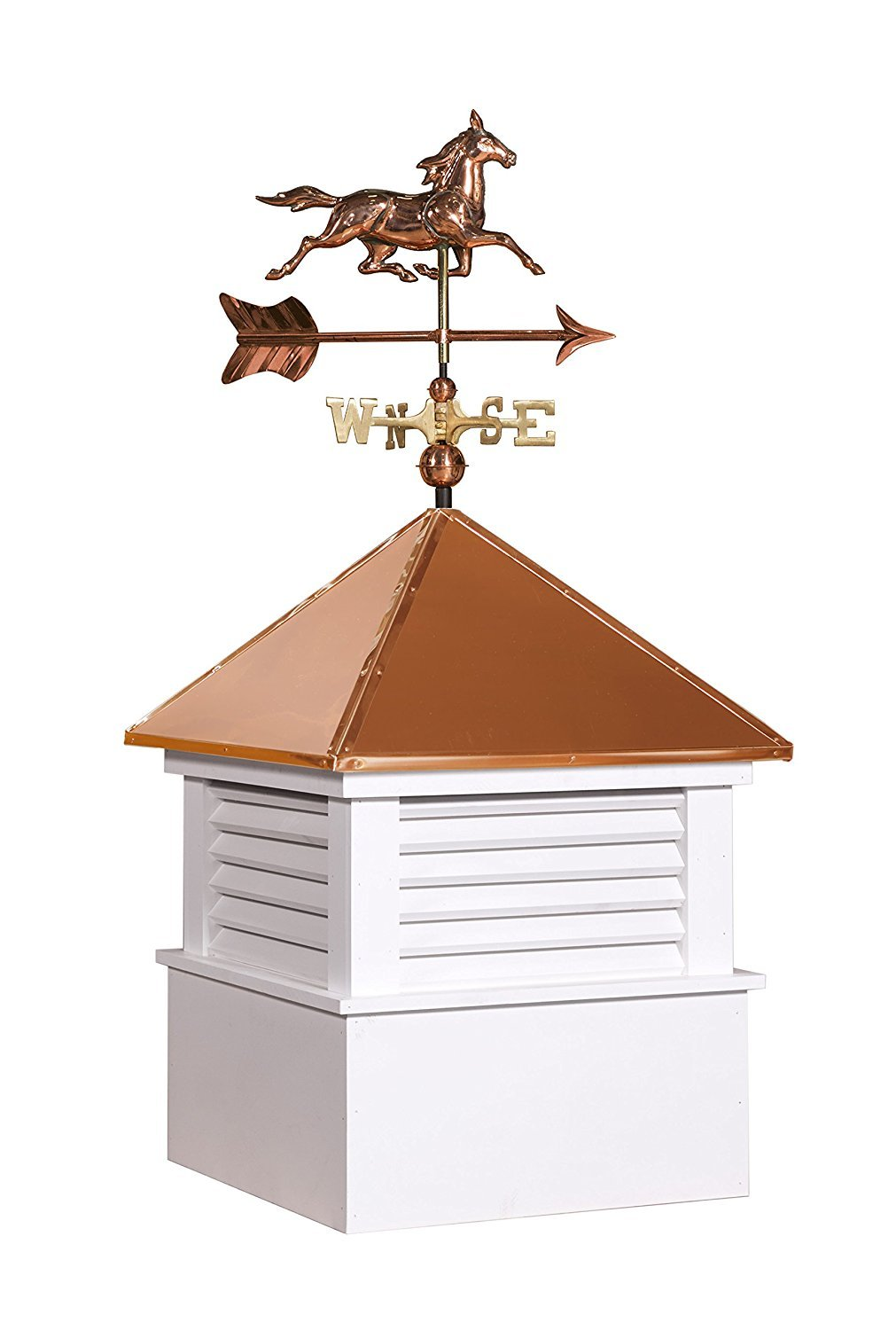 East Coast Weathervanes and Cupolas Vinyl Douglas Cupola With Horse Weathervane (Vinyl, 25 in square x 51 in tall)