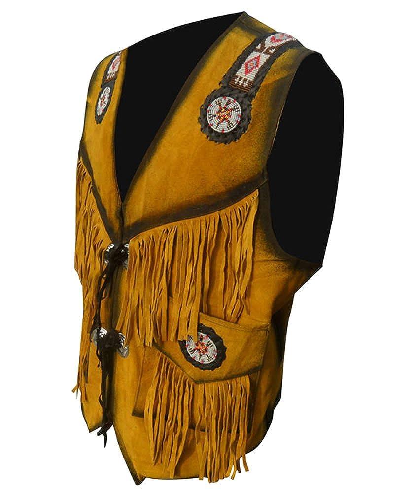 Classyak Men's Cowboy Leather Vest with Fringes & Beads