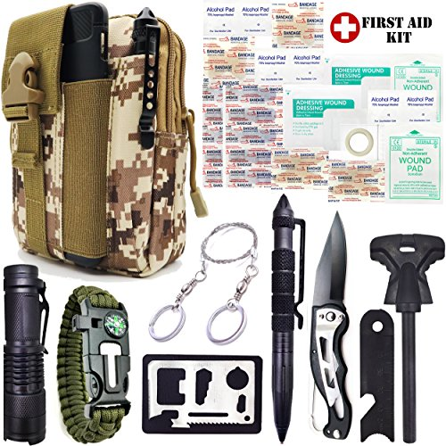 Everlit Emergency Survival Kit 35-In-1 Molle Tool Pouch, Tactical Outdoor Gears, First Aid Supply, Survival Bracelet, Wire Saw, Tactical Pen, Fire Starter, for Camping, Hiking, Hunting