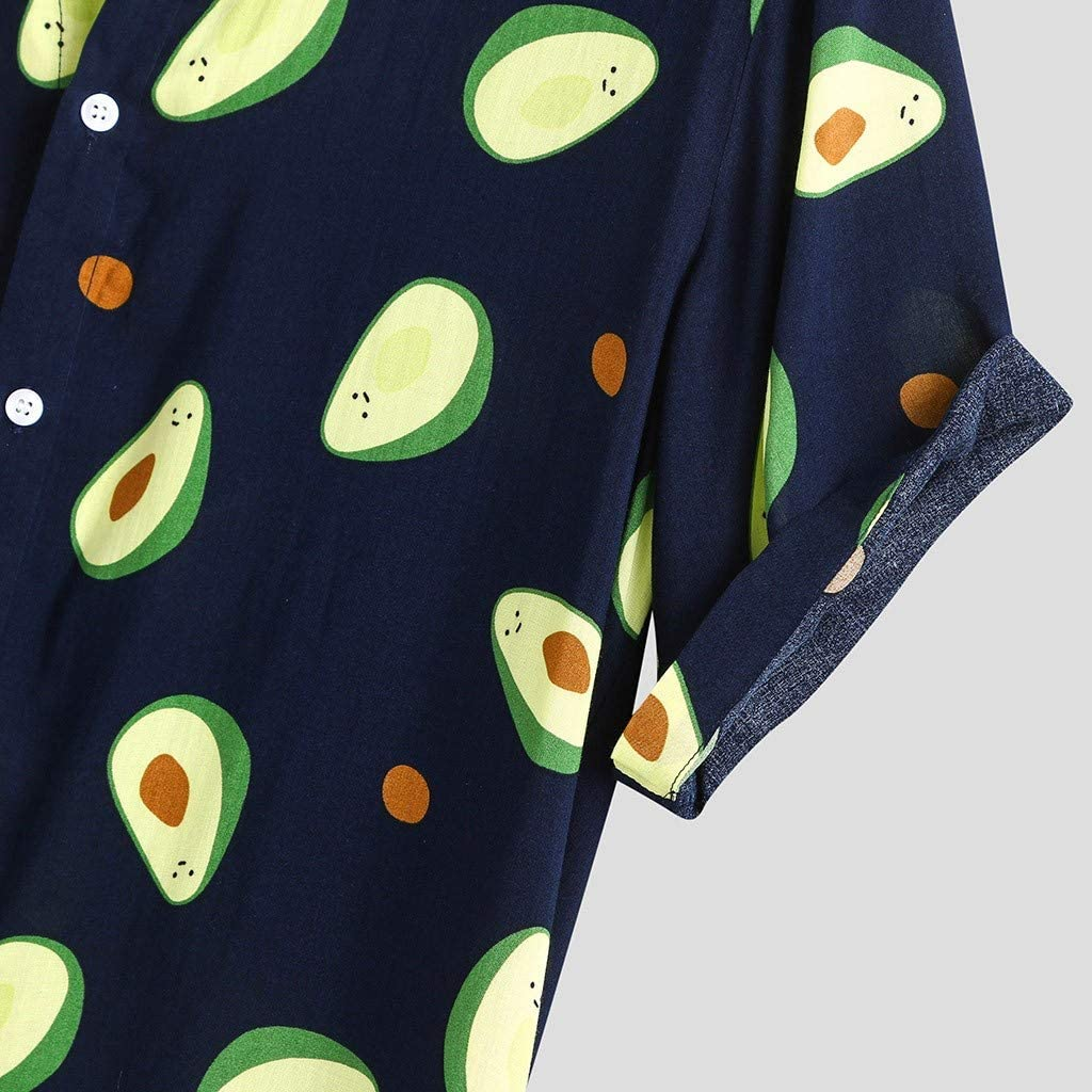 Xia/&Han Mens Cotton Linen Shirts Casual Printed Short Sleeve Turndown Collar Tops Slim Fit Hawaiian Blouse