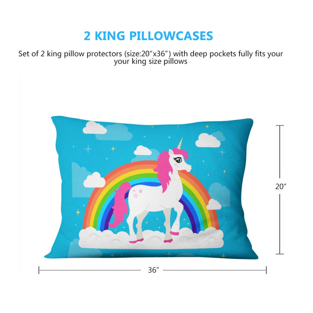 Jessy Home Duvet Cover Twin Set, 4 PC Cartoon 3D Bedding Set, Unique Print with Unicorn for Girls,1 Duvet Cover/1 Flat Bed Sheets/2 Pillowcases,Without Comforter