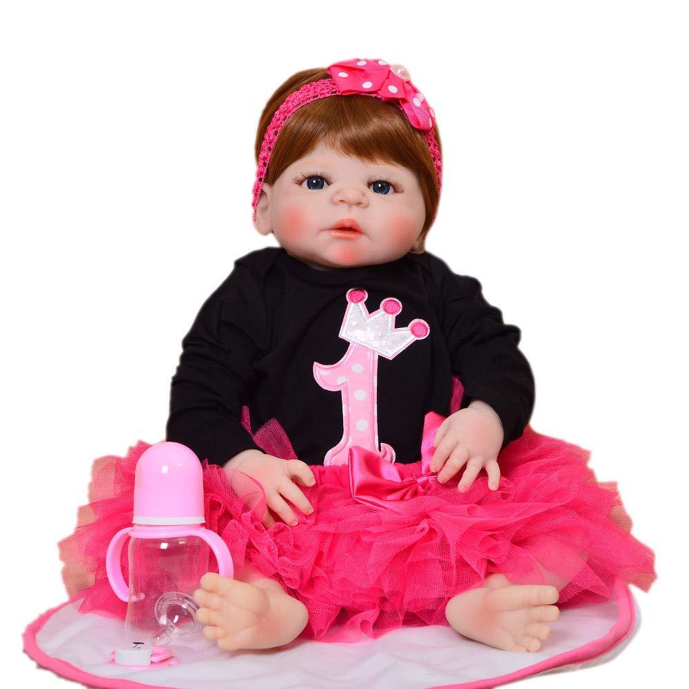 Blau Eyes Babypuppen,Mode 23 '' Reborn Puppe Babys Ganzkörper Silikon 57 cm Lebensechte Mädchen Baby Puppe Tragen Prinzessin Kleid Kind Weihnachten Geburtstagsgeschenke für Jungen, Mädchen, Blaue Augen