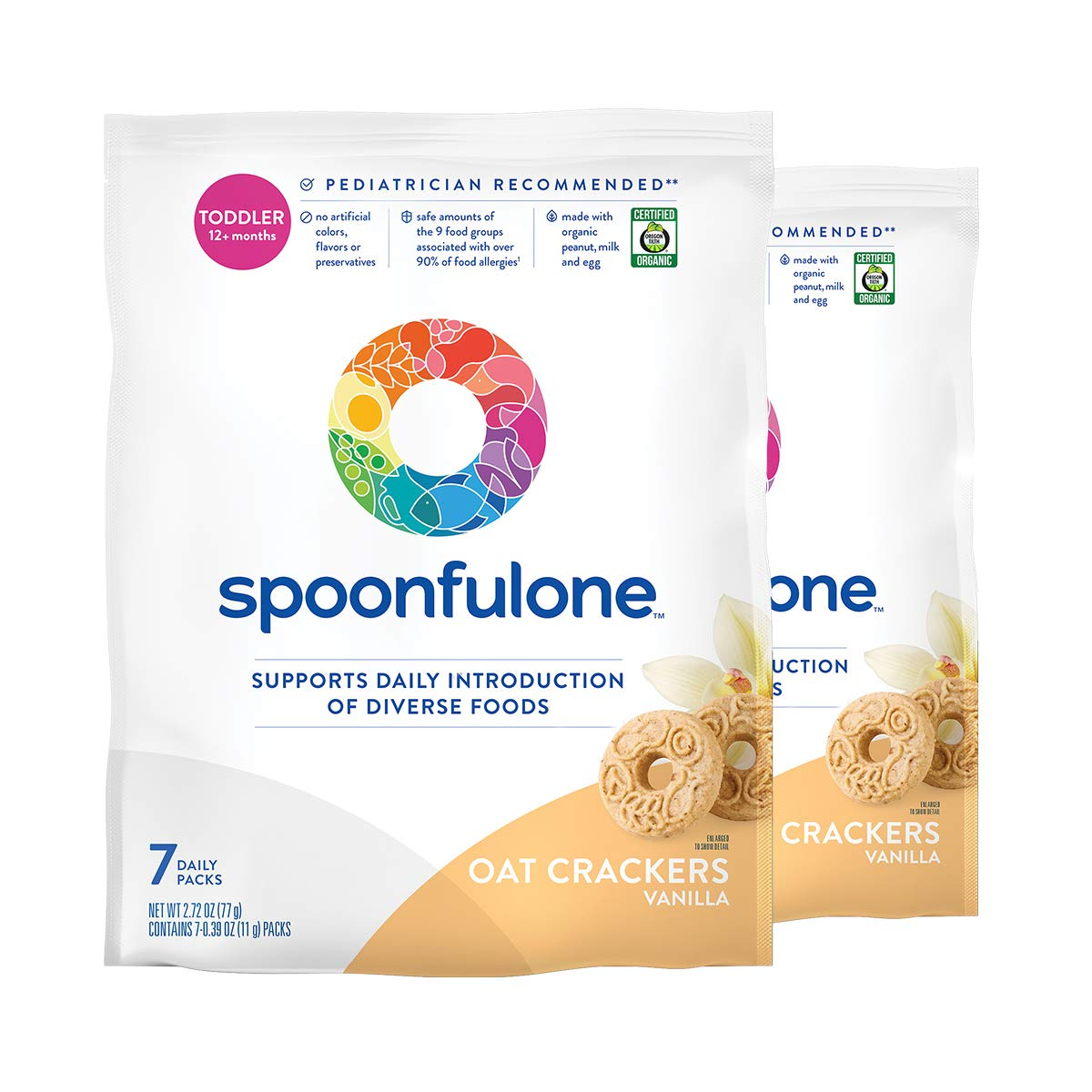 SpoonfulOne Early Allergen Introduction Oat Crackers | Smart Feeding Snack for a Toddler or Baby 12+ Months | Certified Organic (Vanilla - 14 Pack)