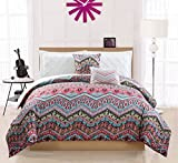 Woven Trends Pin-tucked Multicolor/White Printed Reversible 5-Piece Comforter Set - King Size
