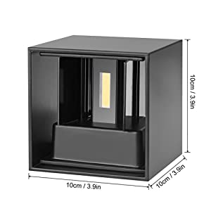 7W Applique Murale de LED avec angle d'éclairage réglable Design étanche IP65 Led Éclairage Lampe Murale Blanc Chaud 3000 K Pour Chambre Maison Couloir Salon (Noire)