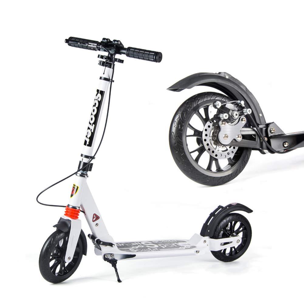 キックスクーター ディスクブレーキが付いている男女兼用の大人の蹴りのスクーター、大きい車輪が付いているFoldable通勤のスクーター、女性/人/十代の若者たち/子供のための誕生日プレゼント、非電気、100kgまで (色 : 白) B07MXTP4R3  白