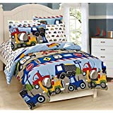 Mk Collection 7 Pc full Size Kids Teens boys Comforter and Sheet Set Blue Red Yellow Trucks Tractors Cars New Full Size by MK Collection
