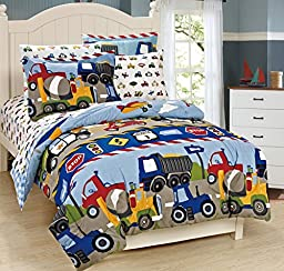 Mk Collection 5 pc Twin Size Kids Teens boys Comforter and Sheet Set Blue Red Yellow Trucks Tractors Cars New