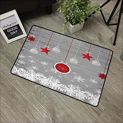 Restaurant mat W35 x L47 INCH Christmas,Traditional Celebration Theme with Pendant Stars Baubles Ornate Snowflakes,Grey Red White Natural dye printing to protect your baby's skin Non-slip Door Mat Car ()