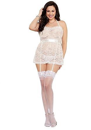 2b0e837b5 Amazon.com  Dreamgirl Women s Plus Size Flirty Sexy Delicate Lace Apron  Baby Doll