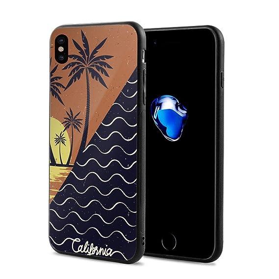 Amazon Com Leyue Iphone Xs X Case Sunset Wave Surf Palm