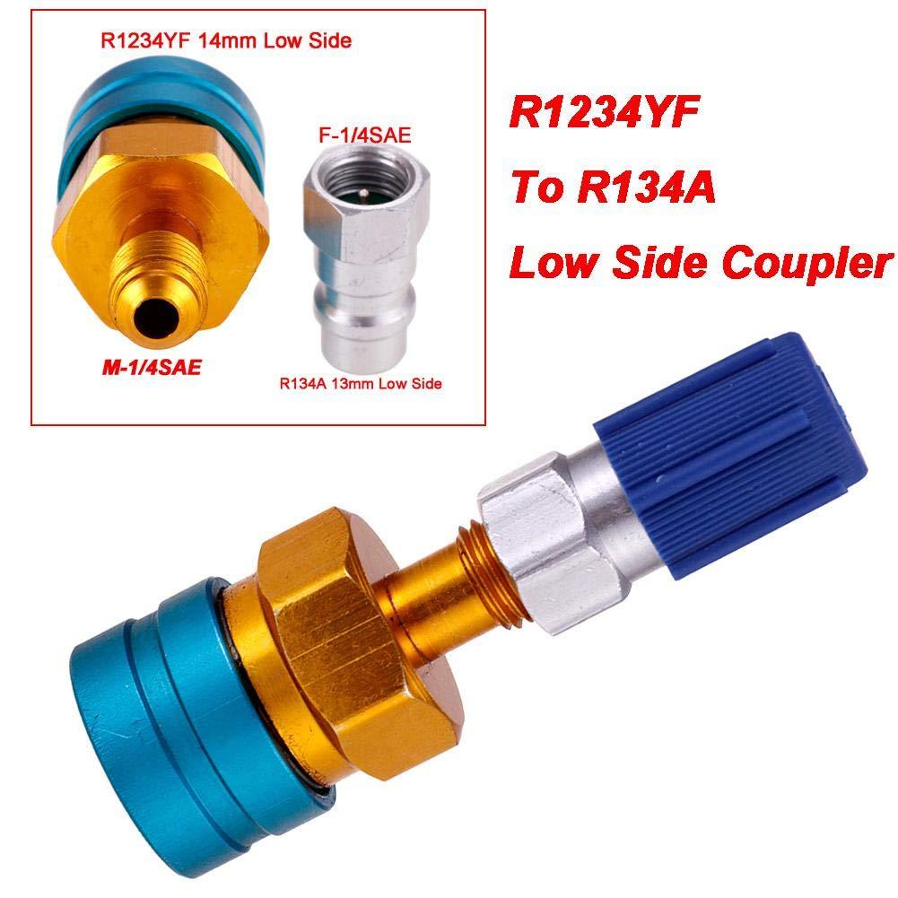 Teabelle Acoplador de Lado Bajo R1234YF a Conector de Ajuste R/ápido de Adaptador de Manguera R134A 1Pcs