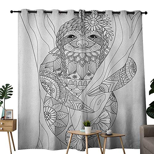 NUOMANAN Decor Curtains by Sloth,Smiling Cute Animal on Tree with Various Floral Details Monochrome Artistic Wildlife, Black White,Wide Blackout Curtains, Keep Warm Draperies, Set of 2 100