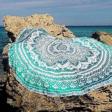 Hwiionne Toalla de Playa Teddy Mantel Hippie en algodón, Toalla de Playa Lisa, Alfombra