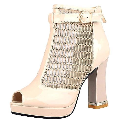 80eabc20ded97 Lydee Mujer Moda Tacon Ancho Botas Verano Ankle Tacones Altos Cremallera   Amazon.es  Zapatos y complementos