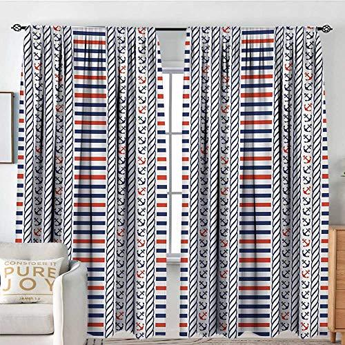 (Blackout Thermal Insulated Window Curtain Valance Nautical,Marine Pattern with Stripes Anchors Rope Figures Sailor Symbol Navy Design,Night Blue Orange,Rod Pocket Valances 84