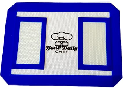 Your Daily Chef Non Stick Silicone Mat Dab Bho Oil and Wax Extract  Concentrate Baking Cookie Sheet (1, 8 5X11 Blue)