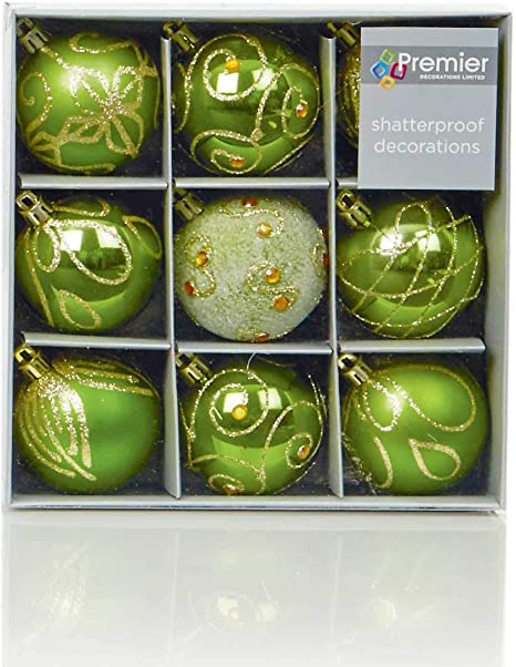 2xSet of 9 Gold Christmas Tree Baubles 6cm 18