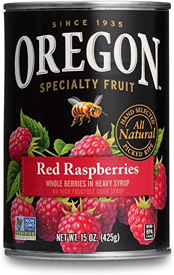 Oregon Fruit Red Raspberries in Syrup, 15-Ounce Cans (Pack of 8 ...