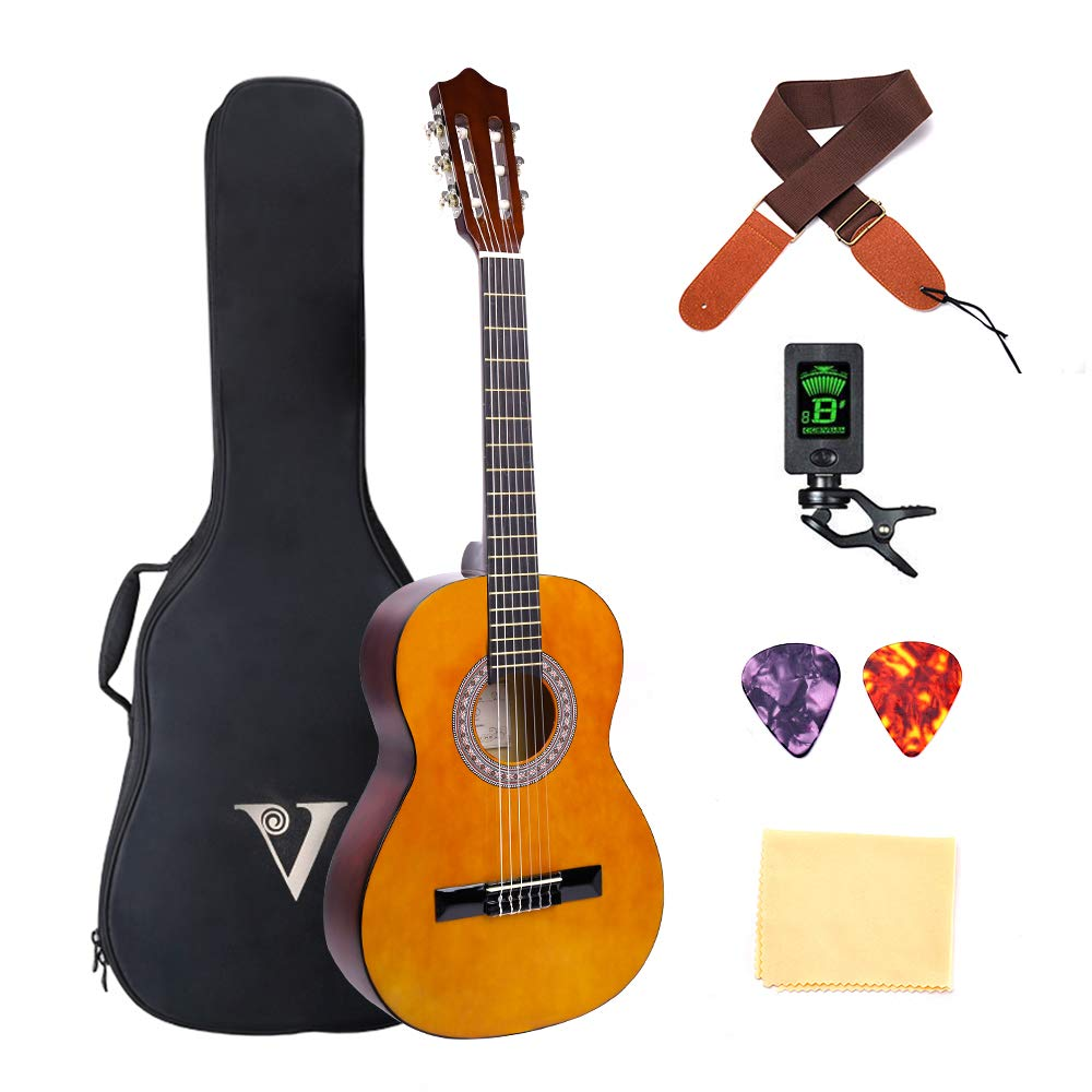 Classical Guitar 3/4 Size 36 inch Kids Guitar Acoustic Guitar for Beginners 6 Nylon Strings Guitar Starter Kits with Waterproof Bag Guitar Clip Tuner Strap Picks Wipe (36inch#02) by J&Z