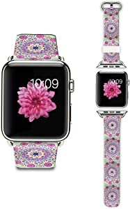 LAACO Band Compatible for Apple Watch 38mm 40mm, Floral Leather Replacement Strap for iWatch 38mm Series 5/4/3/2/1, Sports & Edition Purple Mandala