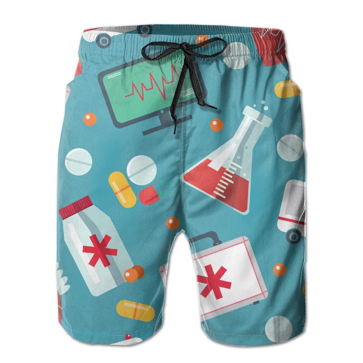Yt92Pl@00 Mens 100/% Polyester Trendy Flat Medical Beachwear Fashion Board Shorts with Pockets