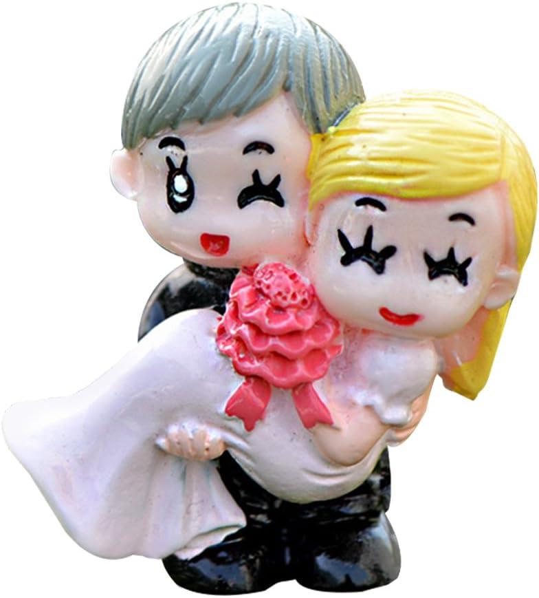 Wansan Miniature Resin Bride & Groom Figurine Fairy Garden Accessories Kit Home Garden Outdoor Decoration Ornaments DIY Craft Décor